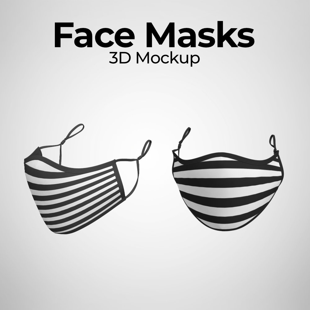 3D Face Mask Photoshop Mockup Templates